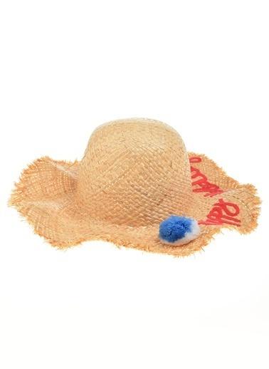 Morhipo Beach Yazılı Hasır Şapka Camel